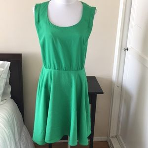 Ark&Co green open back dress